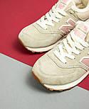 Зимові жіночі кросівки New Balance 574 beige fur. Живе фото (Репліка ААА+), фото 8