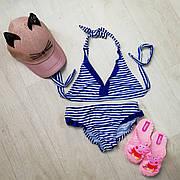 Купальник раздельный детский полосатый синие рюши -160-03