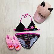 Купальник раздельный детский чёрно-розовый -160-04-1