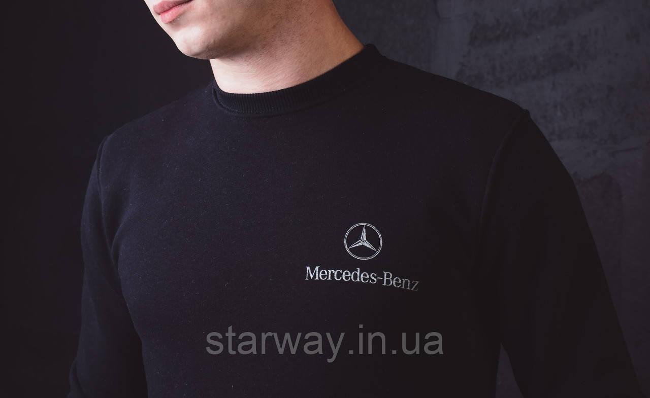 Світшот чорний принт Mercedes Benz | стильна Кофта