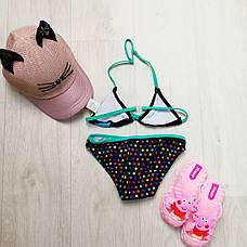 Купальник детский раздельный чёрно-бирюзовый- 160-04-2, фото 2