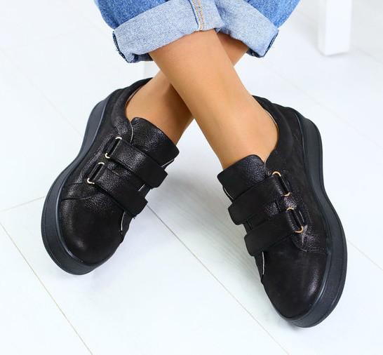5cad7de38 Модные женские кожаные кеды кроссовки на платформе на липучках черные бренд  RJ31HI44-1GN