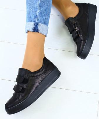 cf69a2ad8 Модные женские кожаные кеды кроссовки на платформе на липучках черные бренд  RJ31HI44-1GN, ...