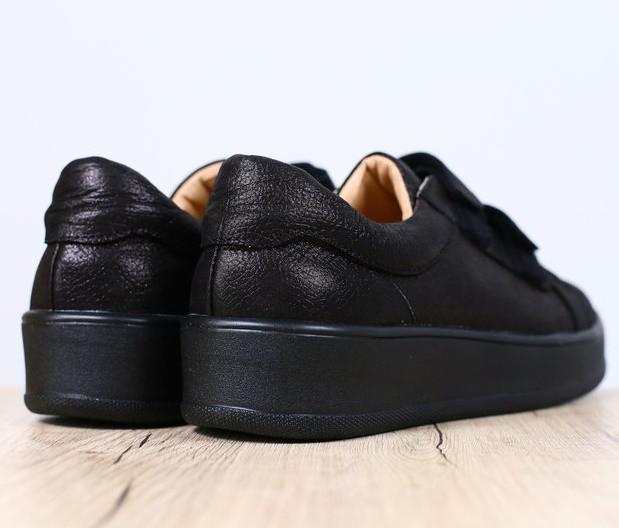 99e9e3f13 ... фото Модные женские кожаные кеды кроссовки на платформе на липучках  черные бренд RJ31HI44-1GN, ...