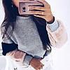 Женский модный серый свитшот с мехом