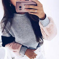 Женский модный серый свитшот с мехом , фото 1