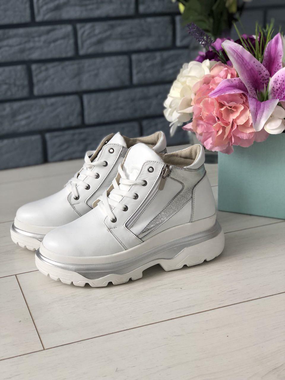 58bc70b1a Модные демисезонные ботинки женские кожаные на шнуровке высокая платформе  белые серебряные вставки C40NR55-1V, ...