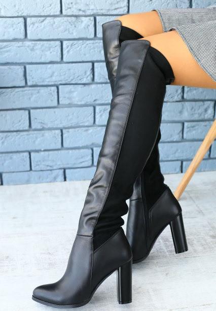794813907 Стильные демисезонные ботфорты сапоги чулки кожаные на высоком толстом  каблуке черные весна осень F40DL94S