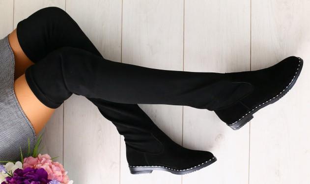 acd568a10 Модные демисезонные ботфорты сапоги чулки замшевые на плоской подошве без  каблука черные весна осень W41HT26-