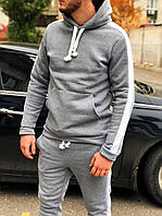 Спортивный костюм мужской серый с капюшоном зимний утепленный. Живое фото