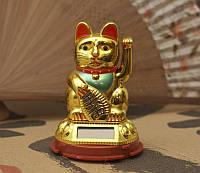 Манэки Нэко на солнечной батарейке золотой (6,5х6,5х9 см)
