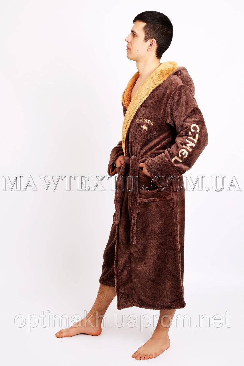Мужской халат махровый коричневый (СAMEL)