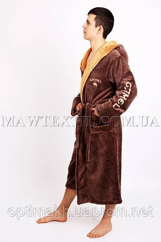 Мужской халат махровый коричневый (СAMEL), фото 2