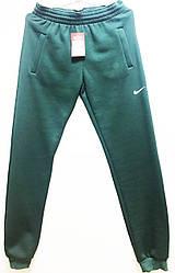 Спортивные штаны  трикотаж  зеленые  с начесом NK-298