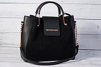 Женская замшевая сумка шоппер Michael Kors, черный цвет