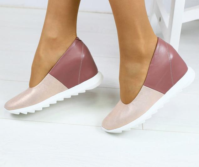 14cd2d50a Красивые туфли женские на удобной платформе танкетке натуральная кожа цвет  пудра D29NR83-2F