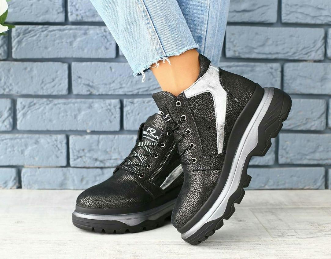 78a94a5fb Топ демисезонные ботинки женские кожаные хайтопы на шнуровке высокая  платформа черные C40NR55V