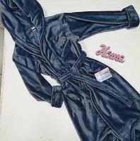 Махровый банный халат графитового цвета S