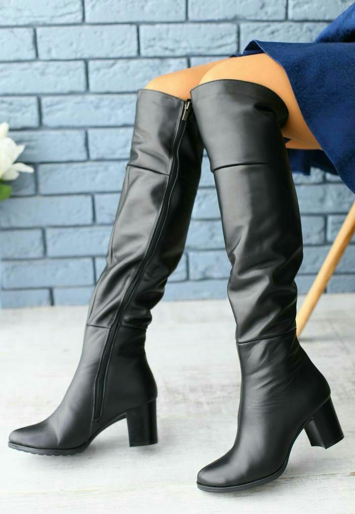 49c1a4e49 Стильные женские высокие сапоги зимние ботфорты кожаные удобный каблук  черные зима S40FL11-2К