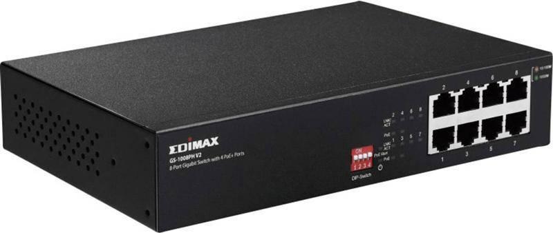 Коммутатор Edimax GS-1008PH V2 (4xGE + 4xGE PoE+, max 70W, питание до 200м, Fan-less)