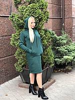 Платье Худи теплое, новинка сезона, цвет зеленый изумруд, размер S -XL