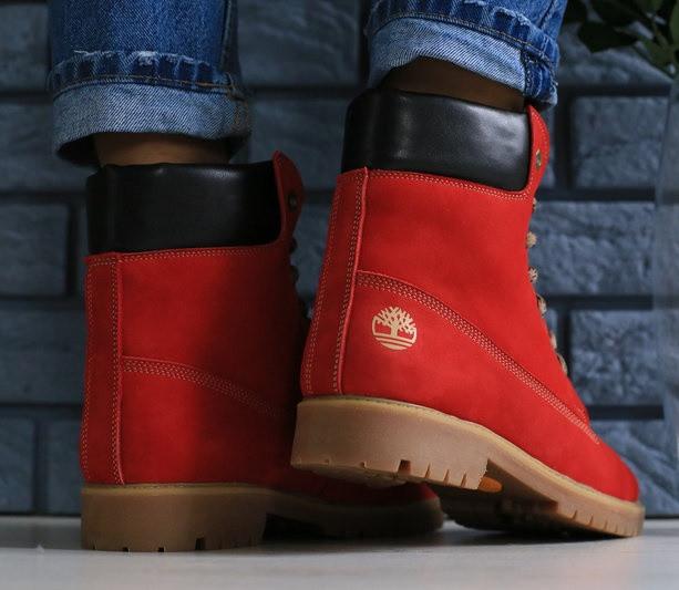 ac164f55 ... Timberland красные зимние ботинки женские полусапожки на низком ходу со шнуровкой  платформа Е28EС21IK, ...