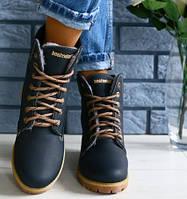 7c6c533a3bb2 Стильные кожаные зимние ботинки женские полусапожки на высокой подошве  платформа синие Timberland Е26EС79IK