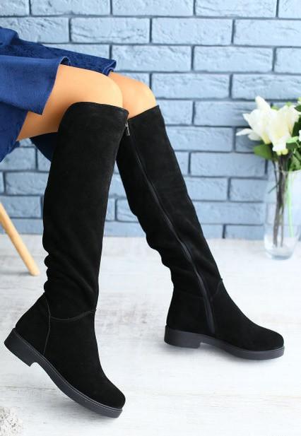 40cc85c88a4f Модные высокие женские сапоги замшевые зимние на низком ходу невысокий  каблук ...