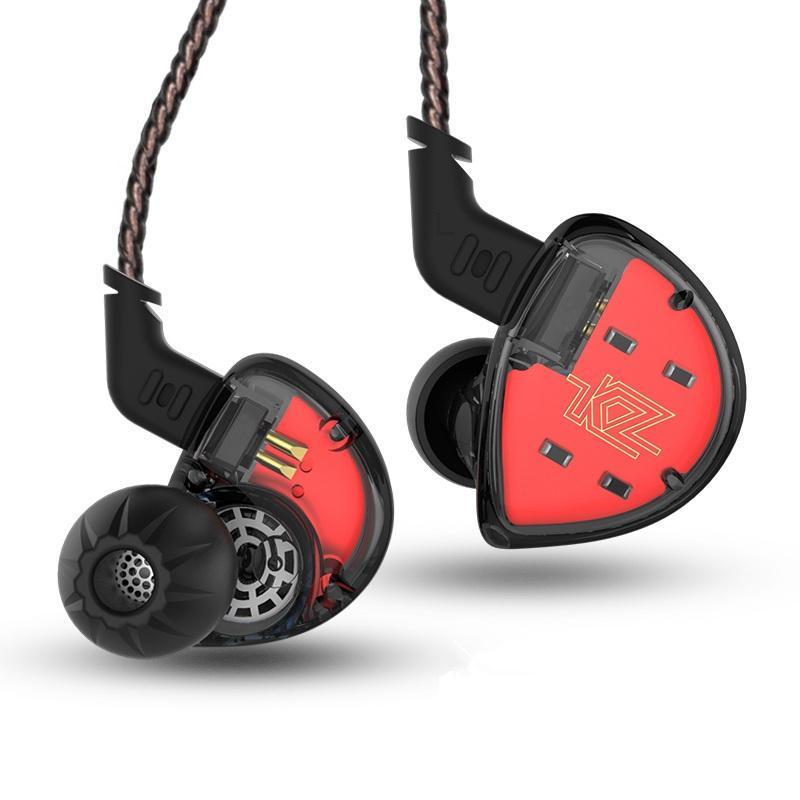 Наушники гарнитура KZ ES4 Hi-Fi - гибридная конструкция драйверов 1+1, кабель без микрофона (BLACK)