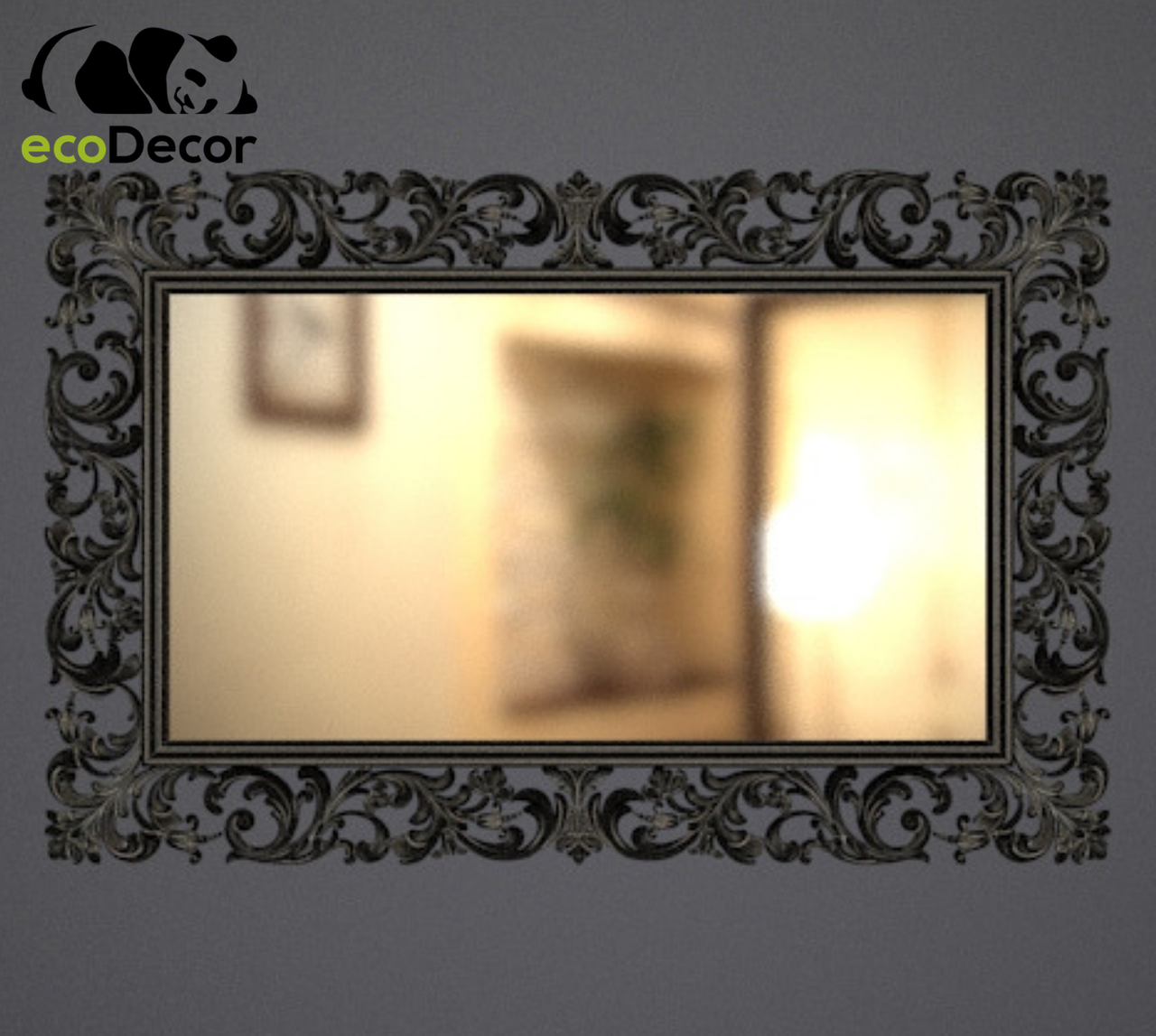 Дзеркало настінне Medan у чорній рамі з білим