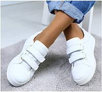 26861c557 Модные женские кожаные кроссовки кеды криперы на платформе белые на липучках  RI31GF44JK