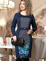 0d02973c3b69a28 Женское трикотажное платье больших размеров с принтом цветов (2019-2021-2023  svt)