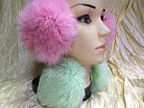 Навушники на широкій дужці з хутра кролика колір м'ята, фото 3
