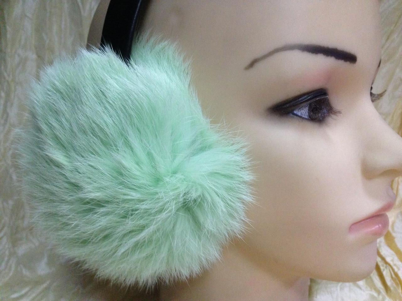 Навушники на широкій дужці з хутра кролика колір м'ята