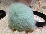 Навушники на широкій дужці з хутра кролика колір м'ята, фото 2