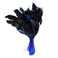 Перья петуха на ножке декоративные (Перо) сине-черные 10-15 см оптом 10 шт/уп