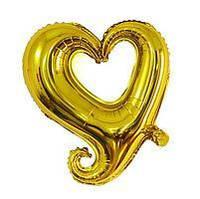 """Шар фольгированный сердце фигурное золотое, 18"""""""