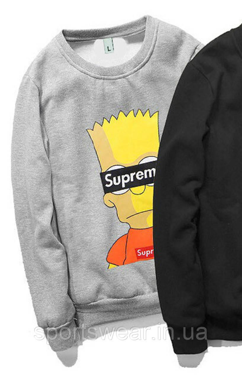 0274e09622ca Свитшоты Supreme Bart Simpson черный,серый,унисекс  (мужской,женский,детский)