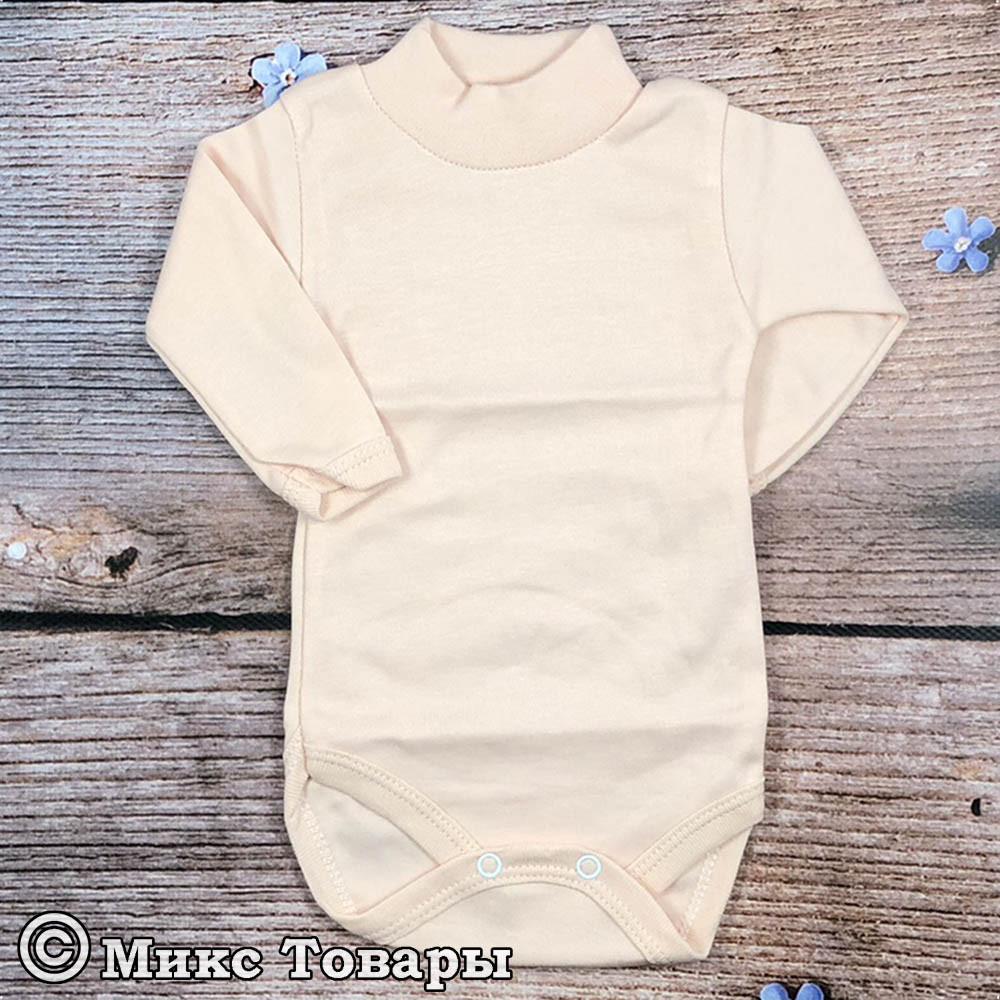 Однотонный персиковый бодик с горлом для малыша Возраст: 0-3,3-6,6-9,9-12,12-18 месяцев (7513-1)