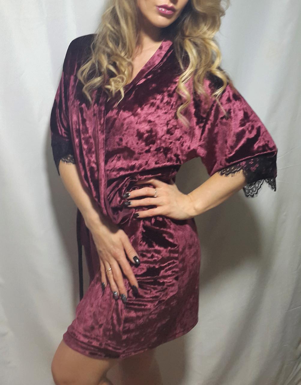 Бархатный  халат с красивым чёрным французским кружевом , от 44 до 52р-ра бордо