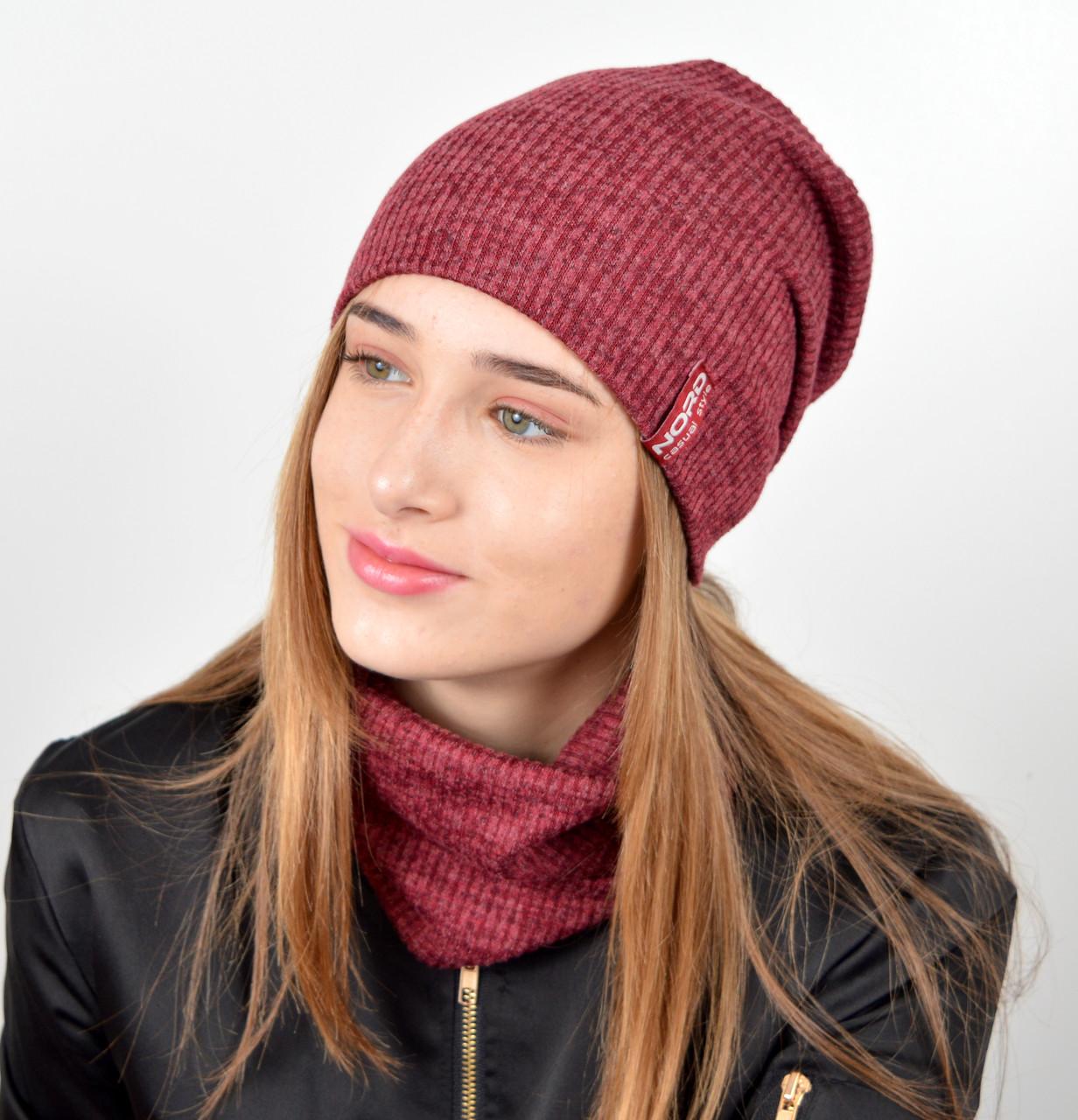 """Подростковый комплект """"Николь""""(шапка+хомут) GR-18017 Бордо"""