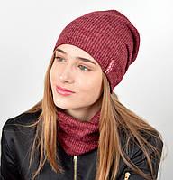 """Подростковый комплект """"Николь""""(шапка+хомут) GR-18017 Бордо, фото 1"""