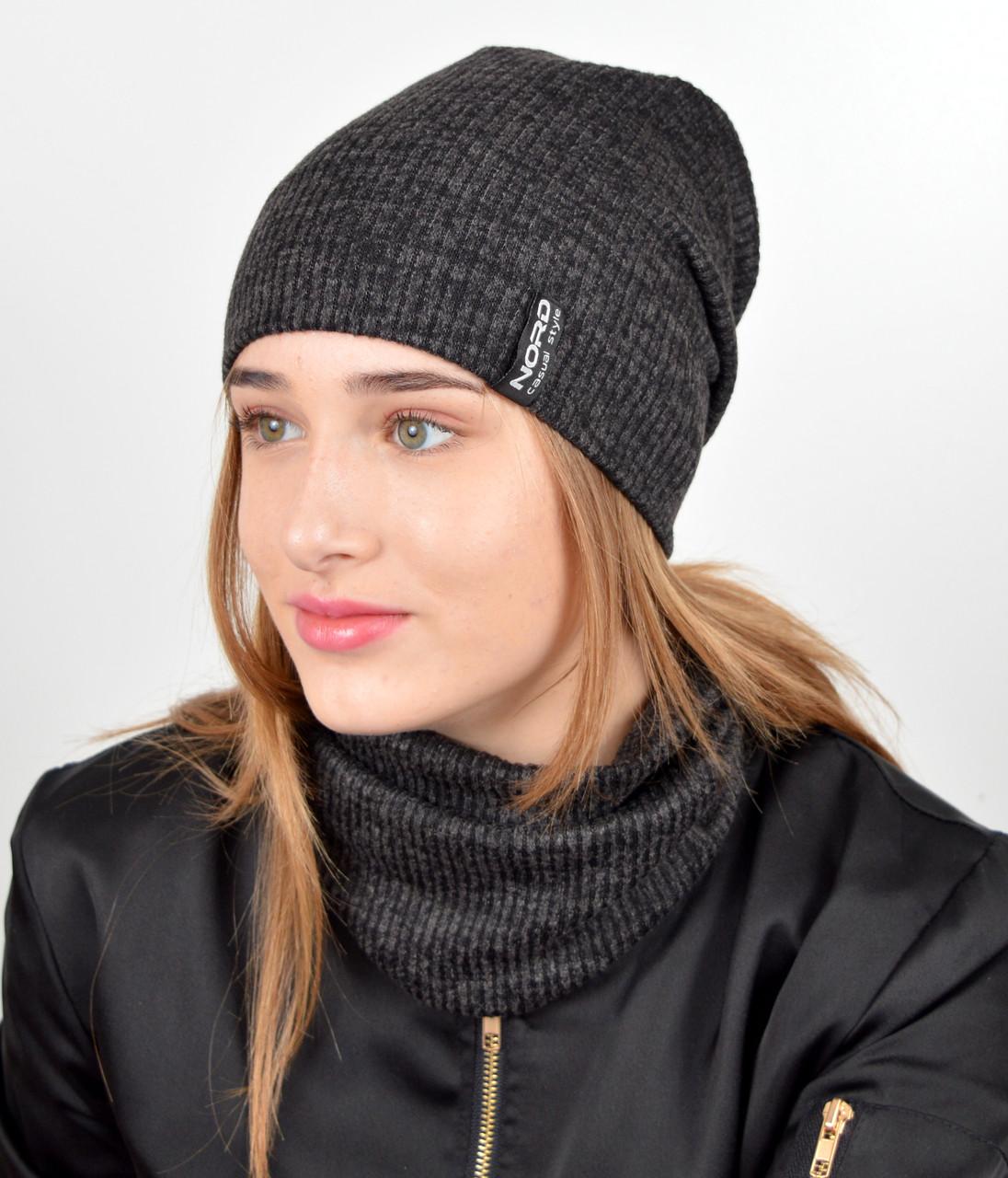 """Подростковый комплект """"Николь""""(шапка+хомут) GR-18017 Черный"""