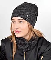 """Подростковый комплект """"Николь""""(шапка+хомут) GR-18017 Черный, фото 1"""