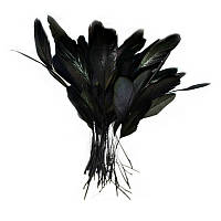 Перья петуха на ножке декоративные (Перо) Черные 10-15 см оптом 10 шт/уп