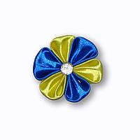 Заколка желто-синяя сваровски, заколка синьо-жовта сваровскі