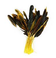 Перья петуха на ножке декоративные (Перо) Желто-черные 10-15 см оптом 10 шт/уп