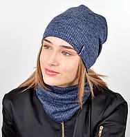 """Подростковый комплект """"Николь""""(шапка+хомут) GR-18017 Синий, фото 1"""