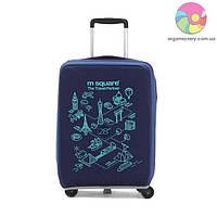 Чехол на чемодан (L) (синий с принтом)