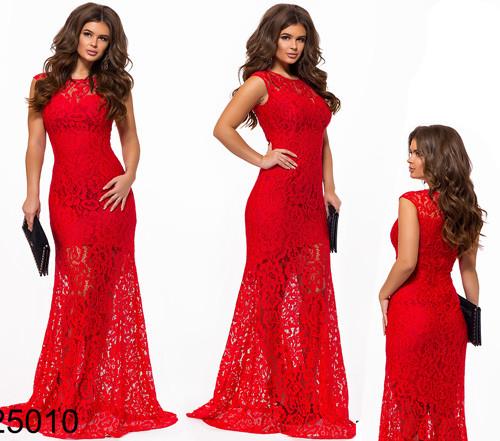 523fa10a6e0 Купить Вечернее красное платье из гипюра 825010 Украина